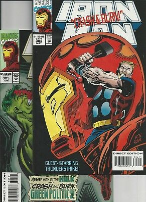 Iron Man #304(with cards),305(Marvel 1994) First Appearance Hulkbuster Armor VF
