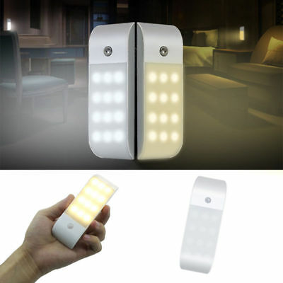 12 Led Rechargeable Night Light Usb Pir Motion Sensor Induction Cabinet Lamp Pou