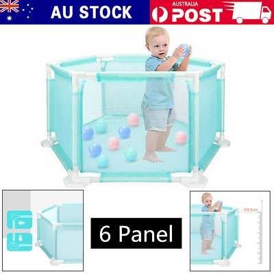 New Baby Kids Interactive 6 Panel Playpen Play pen with Gate Safety Gate