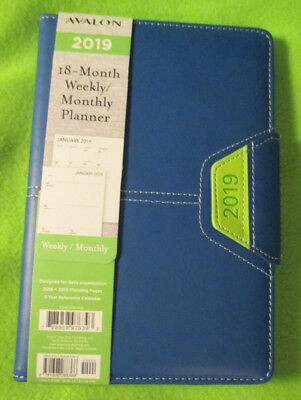 """2019 WEEKLY & MONTHLY Daily Navy BLUE PLANNER Magnetic CLASP BOOK 8.5X5 3/4"""""""