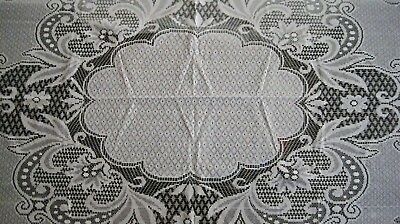 """Oval Lace Tablecloth Brand New 100"""" X 70"""" White Imported  Floral Design"""