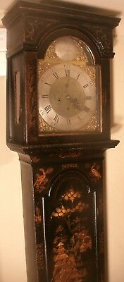 "Antique Black Lacquered "" Durham "" Longcase / Grandfather Clock"
