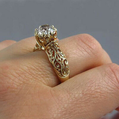 Women Prong Flower Shape Fashion Engagement Party Alloy Crystal Ring Jewelry B