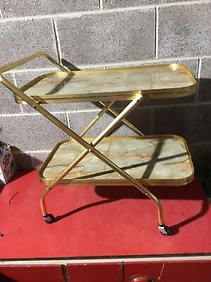 Retro Vintage 2 Tier Gold Hostess Drinks Trolley/cart Home Tea Bar Cocktails
