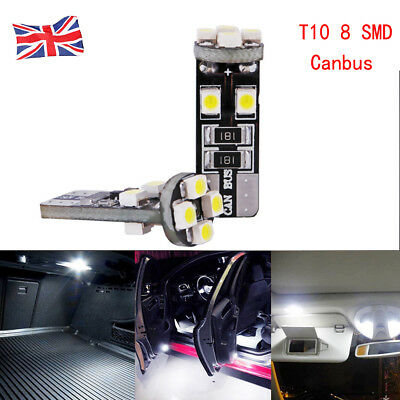 T10 W5W 501 CANBUS ERROR FREE 8 SMD LED XENON HID PURE SIDE LIGHT BULBS White