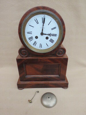 Antique French Mahogany Drum Head Clock For Restoration