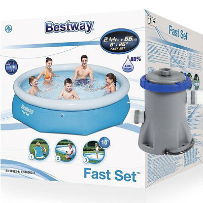 Bestway 8ft Fast Set Family Swimming Pool With Flowclear 330gal Filter Pump
