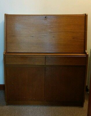 Remploy - Writing Desk /Cabinet / Bureau - Vintage Mid -Teak. TLC project