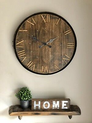 Clock - Large Clock - Wall Clock - Rustic Clock - Scotch Whisky Barrel Lid