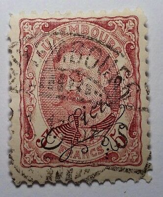 Luxembourg 1908 5fr OFFICIAL. Fine Used €80. GENUINE. See photos