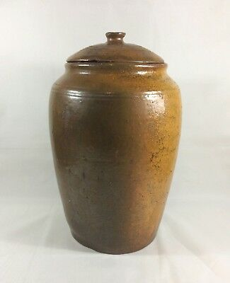 Rare USSR Clay Very big Storage container Old vintage kitchen decor pot with lid