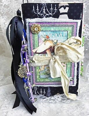 "Magical Things Fairy Junk Journal 9"" x 5"" Handmade 110+ Pages Sari Silk Close"