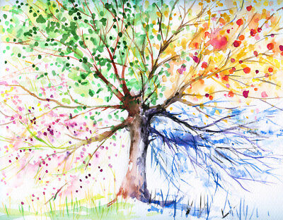 Coloful watercolor design tree Canvas Print Home Decor Wall Art choose your size