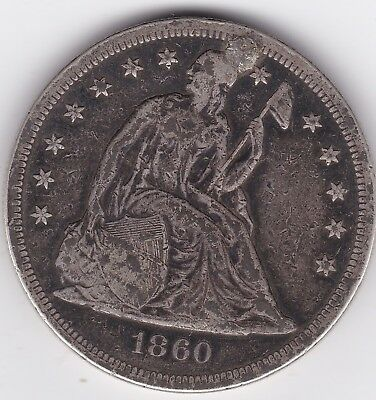1860-O Liberty Seated Silver Dollar, plugged nicely