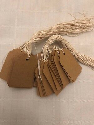 100 Kraft Blank Tags 1 13/16 x 1 3/16 inches thick cardstock paper