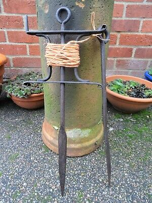 Lovely Vintage GARDEN LINE & STAKE wrought iron - antique string seeds planting