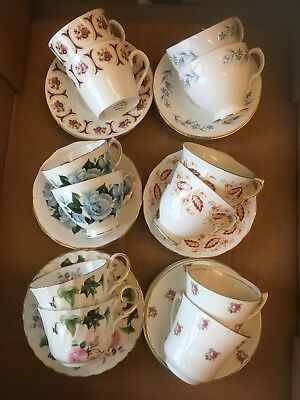 Vintage China Tea Cups & Saucers x 12 Job Lot / Wedding / Party / Tea Room