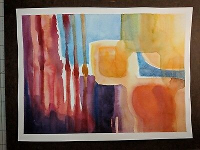 "Original Abstract Watercolor Painting: Red, Blue and Yellow no. 01 12"" x  9"""