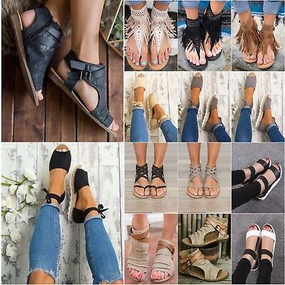 Women Flat Sandals Summer Casual Shoes Gladiator Slipper Flip Flop Thong Bohemia