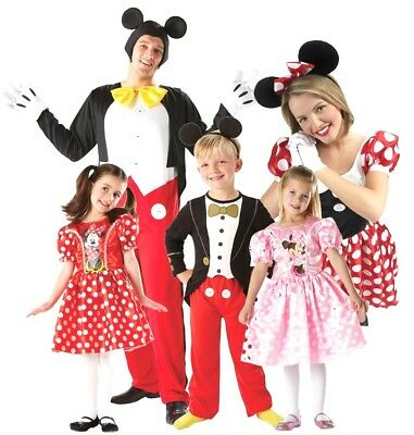 Official DISNEY Mickey Mouse Minnie Mouse Fancy Dress Costume Adult Child Family