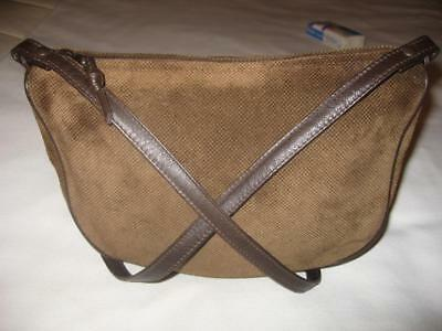 BOTTEGA VENETA black check diamond imprint on brown suede shoulder  crossbody bag 9ddffa71e536f