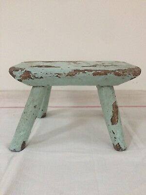 Old Oringinal Blue Chippy Paint Milking Stool Antique Chair