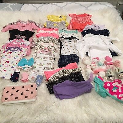 Carters New Infant Baby Girl Clothes 45 Piece Lot Size Preemie - 0/3 Month NWOT
