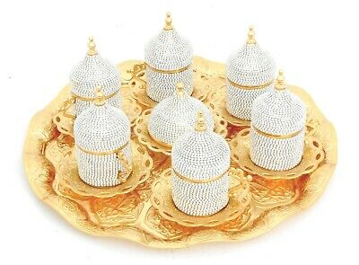 Gold coffee set of 6 cups with saucers, tray and lids/ Turkish, Arabic coffee