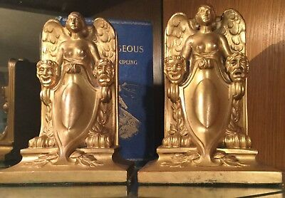 vintage Jennings Brothers bookends, Lady of the Theatre, Art Deco, circa 1924