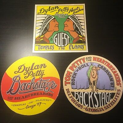 Lot Of 3 TOM PETTY and BOB DYLAN Backstage Pass Sticker Badge