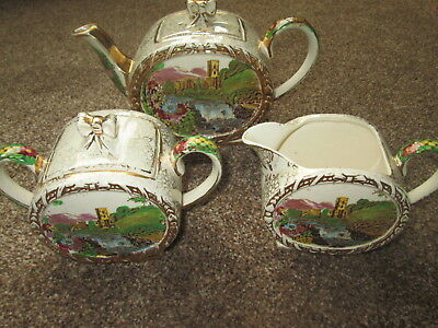 "Sadler pottery tea pot, milk jug and sugar bowl – ""ABBEY FALLS"""