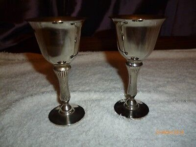 2 Silver colour tone metal goblets,with orange colour tint inside lovely conditi