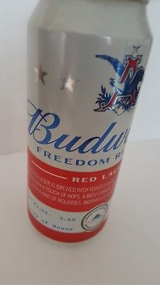 Budweiser  Freedom Reserve  *red Larger* Empty  16 Oz Can Empty..bottom Open...