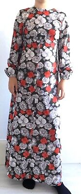 G4 TRUE VINTAGE 1960'S/70'S EMPIRE LINE MAXI DRESS LONG SLEEVE Grey/red Floral