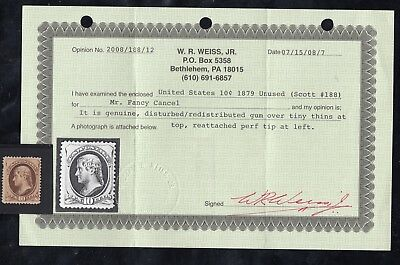 TDStamps: US Stamps Scott#188 Unused Regum Tiny Thin with Weiss Cert CV$625.00