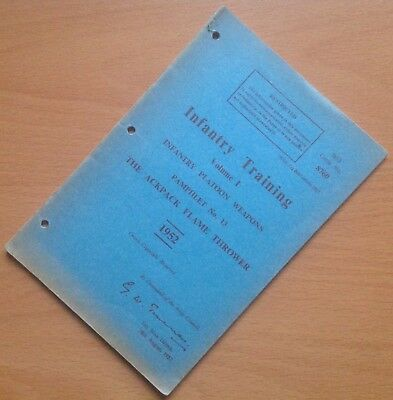 Original 1952 British Infantry Training Pamphlet: The Ackpack Flame Thrower