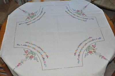 Pretty Vintage White Square  Hand Embroidered Floral Tablecloth
