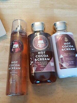 Bath and Body Works Hot Cocoa and Cream Full Size Set Mist Body Wash Cream