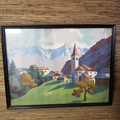 Vintage Paint By Number Painting French Alps Mountain Village Landscape Art