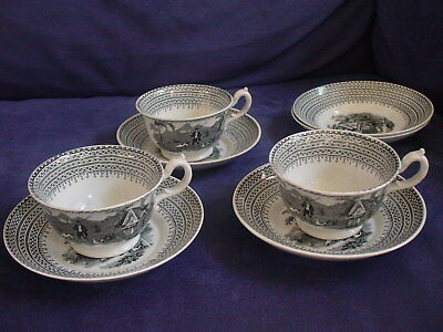 Old Sportsman cup and saucers W. Hackwood shabby chic