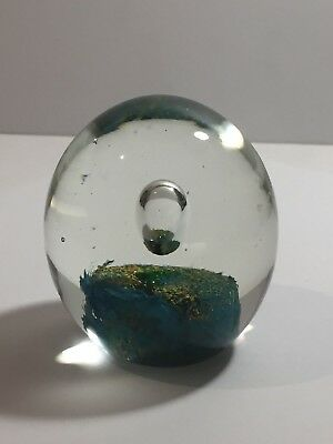 Mdina Style Controlled Bubble Over Yellow/blue Core Ovoid Art Glass Paperweight