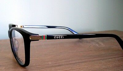 5e82c78f47 New GUCCI Eyeglass Frame BLACK   GOLD Clear Lens tags case cloth 53-17