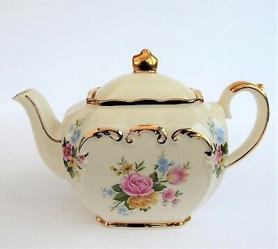Small Sadler Staffordshire Cube Teapot Pink White And Gold Rose Floral