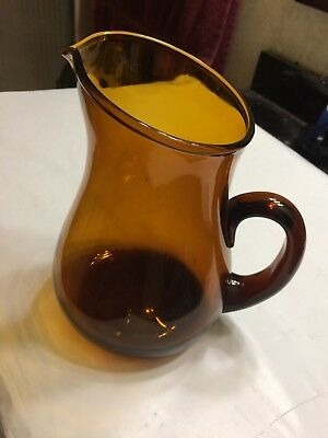 Vintage Large Hand Blown Amber Nutmeg Brown Art Glass Pitcher