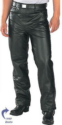 Mens Premium Cowhide Leather Pants Skin Fit Slim Fit Biker Style Fashion Pants
