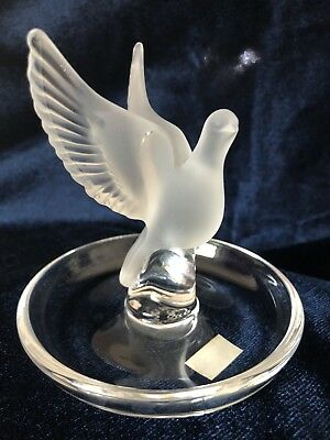 LALIQUE Vintage THALIE Frosted Art Glass DOVE Ring Holder! Beautiful!!