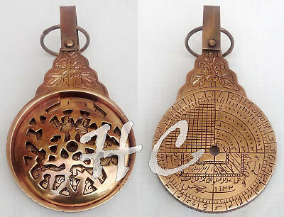 "Vintage Antique Brass Astrolabe 8"" Arabic Globe Navigation Astrological Calendar"