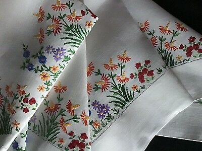 Stunning Large Vintage Linen Hand Embroidered Tablecloth ~ Flower Meadow
