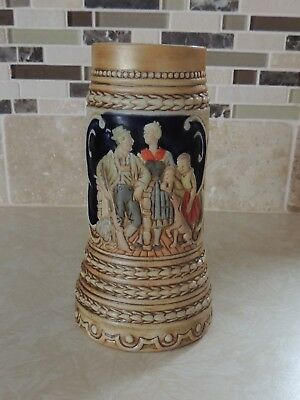 "Ceramarte Brazil German Scene Stein - like early Budweiser steins - 7"" tall"