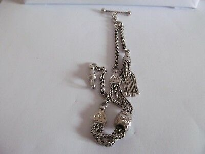 Antique Albertina pocket watch chain solid silver and in very good condition